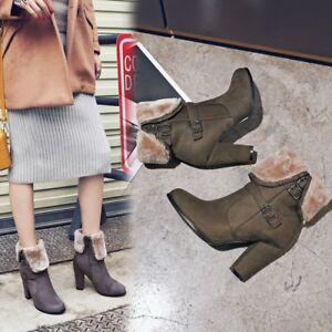 Women's Ankle Boots Block High Heels Suede Warm Fur Lined Booties Casual Shoes