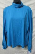 DONCASTER~X-LARGE XL~Cyan Blue Mock Turtleneck Long Sleeve Shirt M148BL54