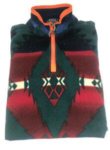 Men's Polo Ralph Lauren Aztec Navajo 1/4 Zip Fleece Top - Size Medium