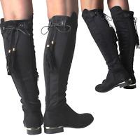 Womans Suede Wide Stretch Gold Black Biker Flat Heel Knee Calf High Boots Shoes