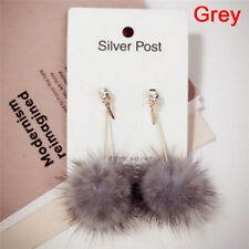 Soft Fur Ball Pompom Long Earrings Drop Dangle Earring Women's Ear Studs Jewelry Pink