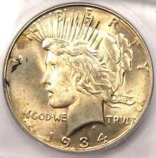 1934-D Peace Silver Dollar $1 - ICG MS60 Details - Rare Date BU UNC Coin