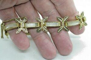Vintage Black & Gold Mother of Pearl Damascene Bracelet