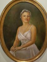 Antique Mystery Lady Portrait  on Canvas w/Frame.