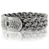 """925 Solid Sterling Silver Men Wide Heavy Braided Bracelet Size 7 7.5 8 8.5 9 10"""""""