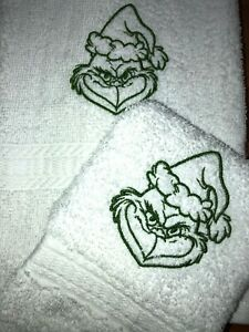 Embroidered White Bathroom Hand Towel and Cloth  Christmas Grinch Character