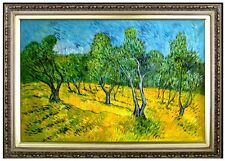 Framed Van Gogh Olive Orchard Repro, Hand Painted Quality Oil Painting 24x36in
