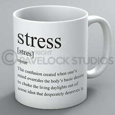 Stress Definition Mug Sarcastic Humour Rude Funny Stressful Work Coffee Tea Gift