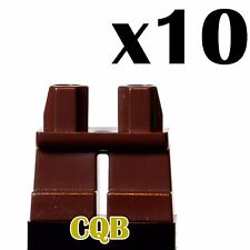 NEW Lego - Figure x10 SHORT - Dark Brown Legs / Pants - plain - GENUINE LEGO