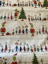The Grinch WHOVILLE STRIPE Singing Line 100% Cotton Fabric by the Half Yard