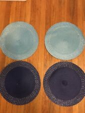 "15"" Round Straw Plastic Woven Placemats Dining Set of 4 Navy Aqua with Silver"