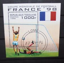 """FRANCOBOLLI STAMPS TOGO 1996 """"WORLD CUP FRANCE 98 - FOOTBALL"""" USED BLOCK (CAT.A)"""