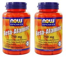 Now Foods, Sports, Beta Alanine, 750 mg, 120 Capsules, 2 Pack