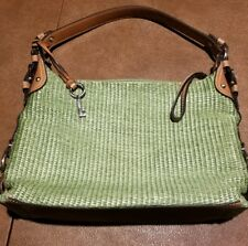 Fossil hand bag purse light green small medium leather strap metal buckles