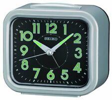 Seiko Analog Quartz Quiet Sweep Silver Tone Metallic Alarm Clock QHK023SLH