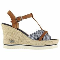 SoulCal Womens Gerri Wedges Ankle Strap Forefoot Buckle Summer Textured