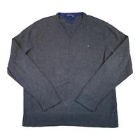 TOMMY HILFIGER Mens Jumper Large Grey Pima Cotton Cashmere Pullover