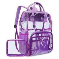 "LOKASS PVC Clear Backpack Transparent Travel Rucksack Bag Case For 15.6"" Laptop"