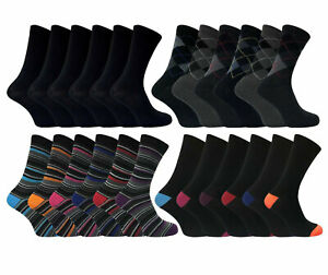 6 Pairs Mens Designer Socks Smart Suit Work Office Coloured Cotton Adults 6-11
