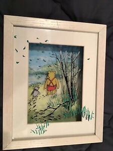 Jean Pierre Weill 3D Winnie the Pooh & Piglet Walking Painted Glass Vitreography