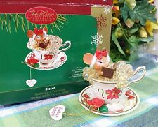 Carlton Sister ornament teacup mouse Bubble bath scented