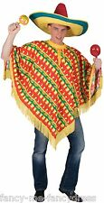 Mens Chilli Print Mexican Poncho Wild West Cowboy Fancy Dress Costume Outfit
