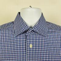 David Donahue Slim Fit Blue Check Plaid Mens Dress Button Shirt Size 15.5 32/33
