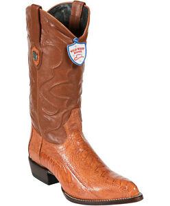 Men's Wild West Genuine Ostrich Leg Cowboy Western Boots J Toe