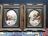 Pair Of Framed Folk Art Paintings Rural Village Scene Signed VICI WOW!