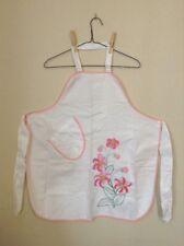 Vintage Pink Flowers Pattern White Apron Cute Kitchen Apron Spring Kitchen