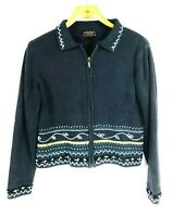 Woolrich Women's Size M Zip Front Cardigan Sweater Denim Heather