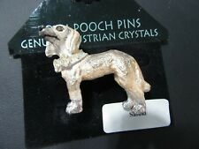 Posh Pooch Pin Austrian Crystal Saluki Dog With Collar Vintage Old Stock