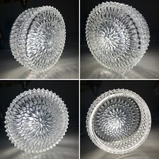 Vintage Mid Century Starburst Cut Clear Glass Ceiling Wall Light Shade + Fitting