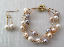 Natural White Pink Purple Freshwater Pearl Tin Cup Bracelet & 14KGP Earrings