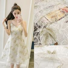 1/3/5M Embroidery Corded Lace Fabric Material DIY Wedding Bridal Dress Gown
