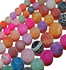 FIRE AGATE BEADS MATTE SATIN MULTI COLOR 4MM ROUND STONE BEAD STRAND S15