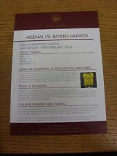 19/02/2014 Arsenal v Bayern Munich [Champions League] Club Level Menu & Todays T