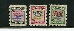 Greenland #19-21 (GR566) Surcharge in carmine & blue, M, H, FVF, CV$225.00