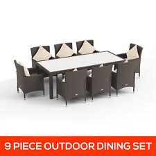 New 9 Pc PE Wicker Rattan Garden Set Indoor Outdoor Dining Setting Furniture Set