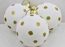 Gisela Graham Natale Matt White glass bauble con glitter oro Puntini Palla X 3