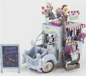 New Flower 3D Pop Up Card Happy Birthday  Cards Flower Truck BLUE
