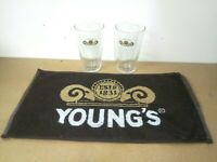 youngs ale bitter pub home drip golf bar towel beer 2 glasses man cave gift *