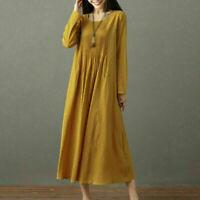 Women Long Sleeve Tunic T-Shirt Ladies Casual Pocket Loose Baggy Midi Dresses