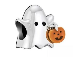 Genuine CHAMILIA Ghost Pumpkin Trick or Treat Halloween Charm ~ NEW in Pouch