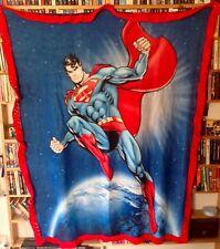 Superman fleece blanket w/ hand knit edging