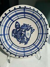"New listing Diane Art Stoneware Blue & White Fish Plates-Smoochy Lips! 8½"" dia. Adorbable!"