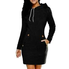 Women Casual Solid Hooded Long Sleeve with Pocket Sweatshirt Dress B0N