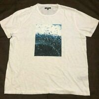 7 For All Mankind Men's White Ocean Graphic T-Shirt 100% Cotton Size XL NWOT