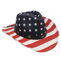 Unisex USA American Flag Cowboy Hat Western Style Wide Brim Cowgirl Straw Hat