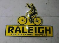 """Porcelain RALEIGH BICYCLE Enamel Sign Size 36"""" X 26"""" INCHES"""